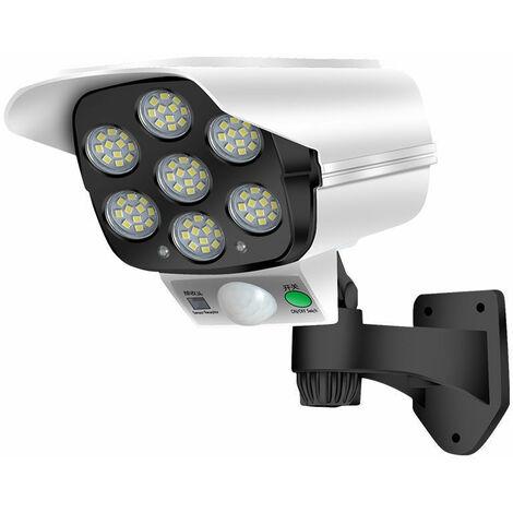 Caméra Factice Extérieur Solaire, Fausse Camera Surveillance avec PIR Détection de Mouvement, Etanche Applique avec Télécommande, Sans Fil Caméra de Sécurité avec Clignotante LED Lampe