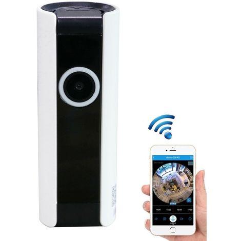 Caméra IP 1.0MP 720P HD 180 degrés grand angle WiFi IP de sécurité, détection de mouvement de soutien / carte TF, prise UE