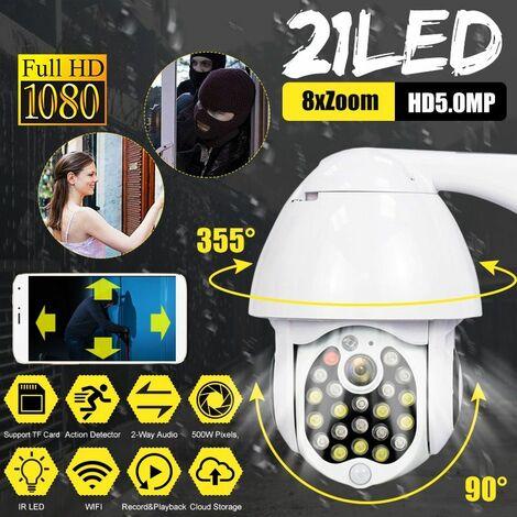 Caméra IP WIFI 1080P 21 LED CCTV Exterieur sans fil HD Caméra IR de Securite à domicile (prise UE)