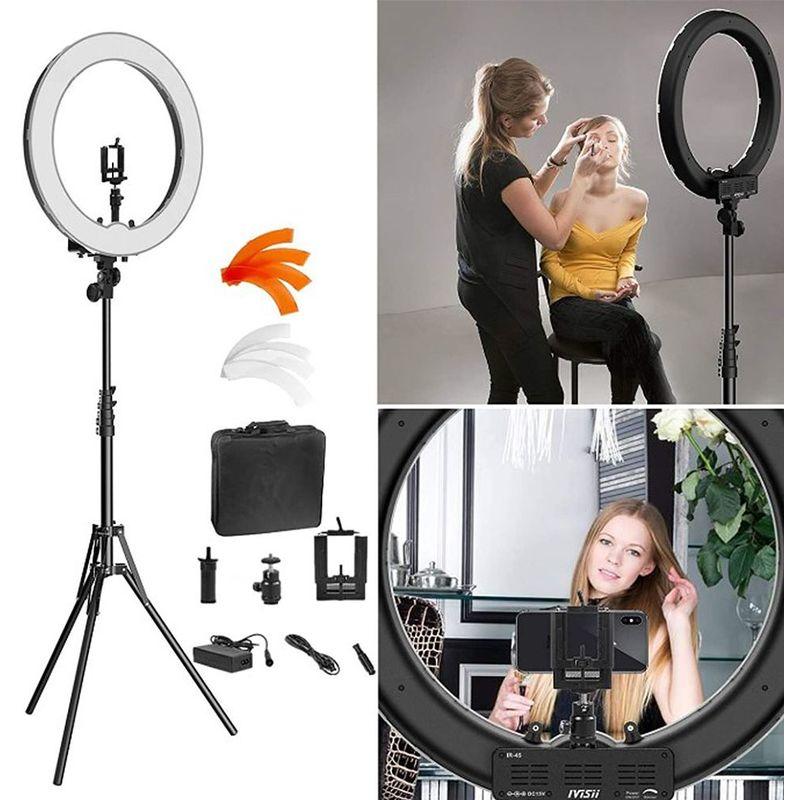 Oobest - Caméra Photo Vidéo Eclairage Kit: 18 Pouces Extérieur 55W 5500K Réglable LED Lumière Anneau