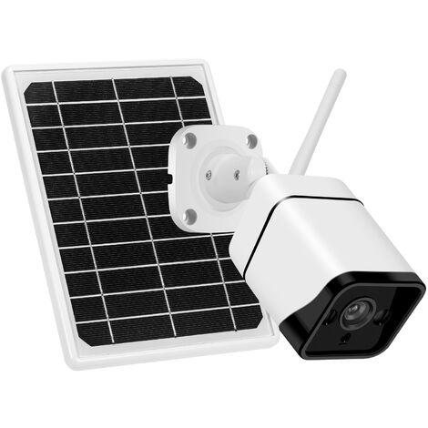Camera Solaire Wifi Sans Fil 2Mp 1080P Hd Avec Lampe A Lumiere Blanche Integree, Voix Bidirectionnelle, Etanche, Avec Batterie