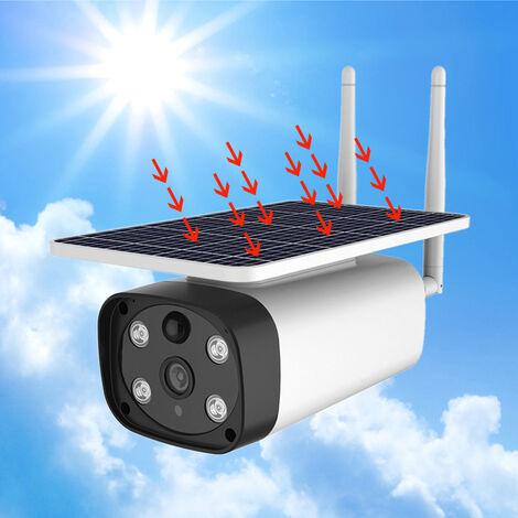 Caméra Surveillance WiFi Extérieure Solaire,14400mah Batterie Rechargeable,Caméra de Surveillance sans Fil AI Détection Humaine,1080p IP Caméra Vision Nocturne,Audio Bidirectionnel IP66 Étanche