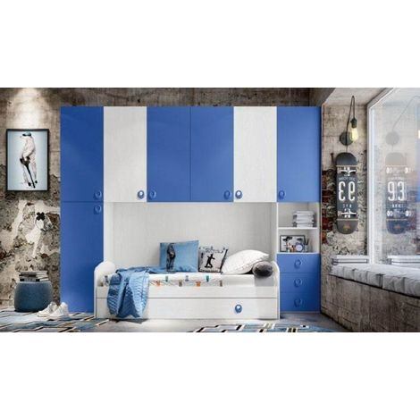 "main image of ""Cameretta Arcobaleno P202. Ponte 2 Colonne Bianco Frass./Blu"""
