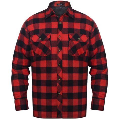fdd170cdb93daf Camicia di flanella da uomo imbottita a quadri rosso/nero taglia L -
