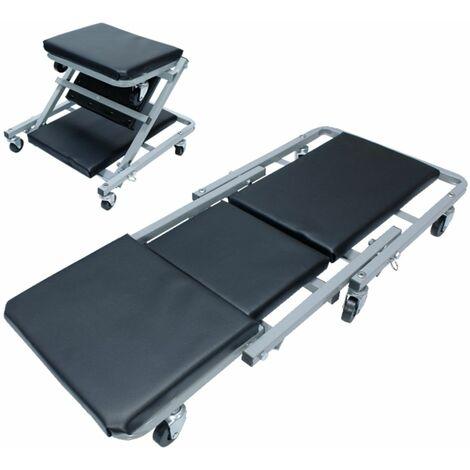 Camilla plegable asiento trabajo taller convertible silla mecánico 2 posiciones