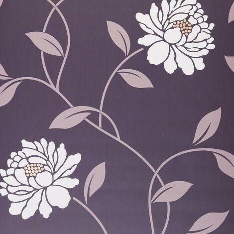 Camille Mulberry Wallpaper Floral Purple Mauve Cream Flowers Textured Matt Dulux
