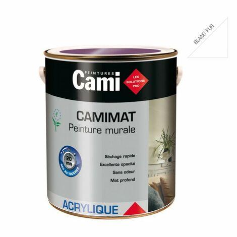 CAMIMAT BLANC PUR 2,5L -Peinture mate acrylique pour finition soignée des murs- CAMI