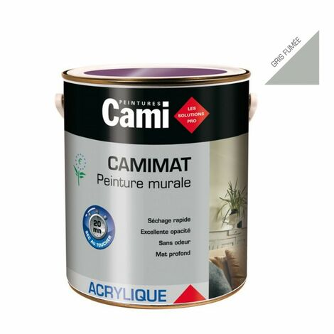 CAMIMAT gris fumée 2,5L -Peinture mate acrylique pour finition soignée des murs- CAMI