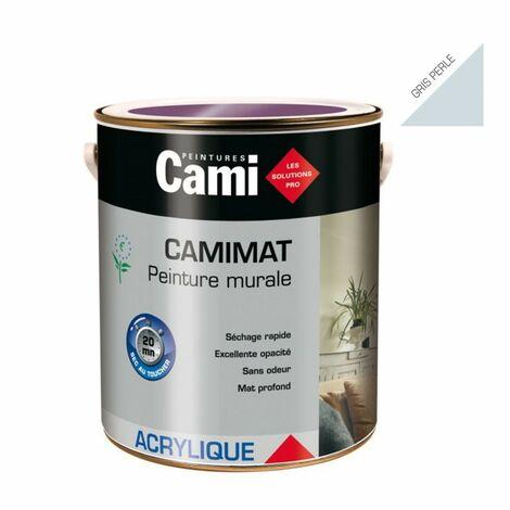 CAMIMAT GRIS PERLE 2,5L -Peinture mate acrylique pour finition soignée des murs- CAMI
