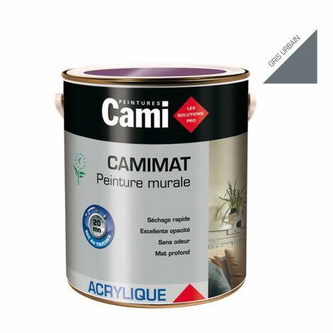 CAMIMAT GRIS URBAIN 2,5L -Peinture mate acrylique pour finition soignée des murs- CAMI