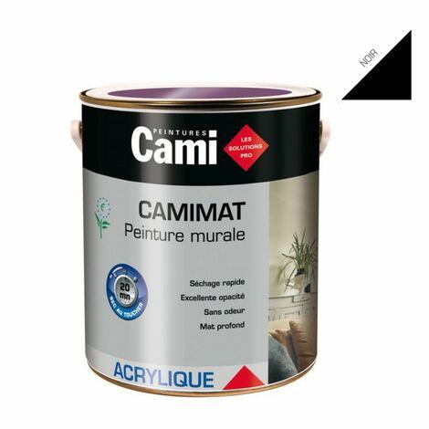 CAMIMAT NOIR 0,5L -Peinture mate acrylique pour finition soignée des murs- CAMI