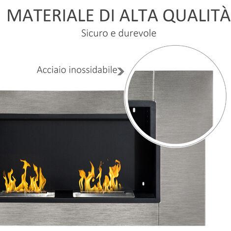 Camino Bioetanolo da parete con 2 Bruciatori 110 cm 3LT - Bio Etanolo Biocamino Inox