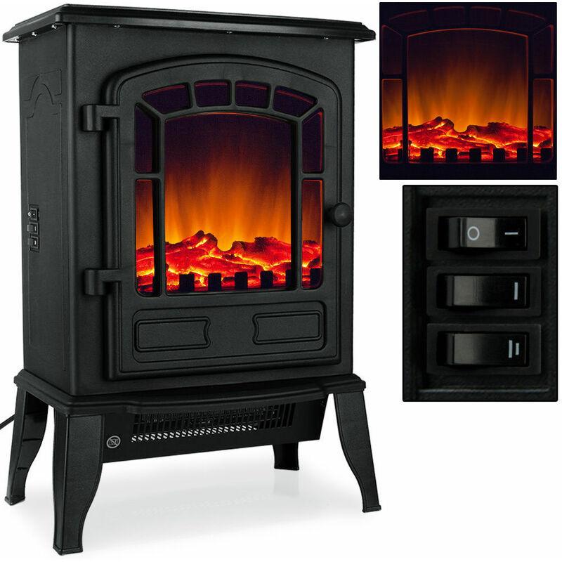 Camino elettrico stufa elettrica 2000w led 38x24x56cm caminetto per interno casa colore principale: nero