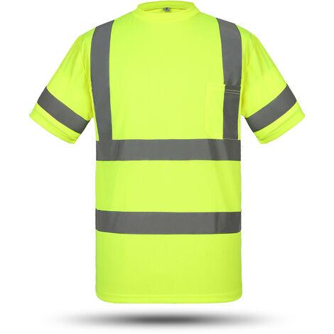 Camisa de trabajo de seguridad reflectante de alta visibilidad SFVest, chaleco reflectante,Amarillo, L