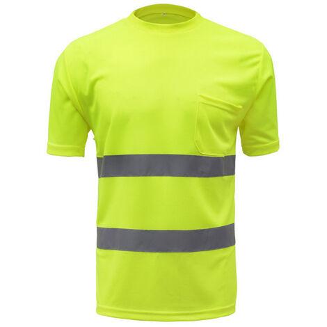 Camisa de trabajo de seguridad reflectante de alta visibilidad SFVest, chaleco reflectante,Amarillo, M