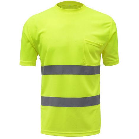 Camisa de trabajo reflectante, camisa de seguridad,Amarillo Fluorescente, L