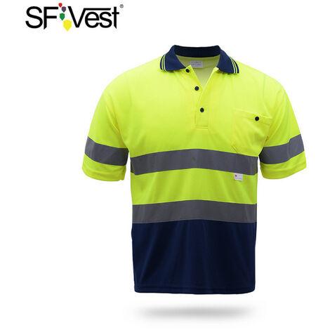 Camisa reflectante de seguridad, Amarillo fluorescente en azul marino, XL
