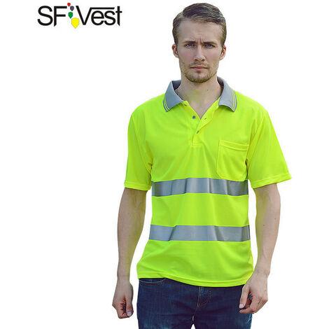 Camisa reflectante de seguridad SFVest, playera de bolsillo de manga corta de alta visibilidad