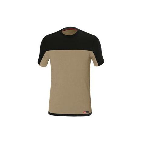Camiseta de trabajo Stretch Beige/Negro Talla xxl