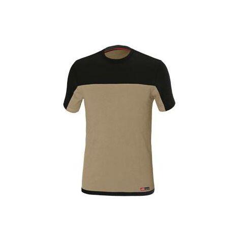 Camiseta de trabajo Stretch Beige/Negro Tallam