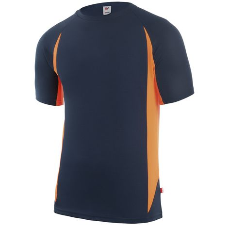 Camiseta de trabajo Tecnica Bicolormanga Cortamarino / Naranja 3xl