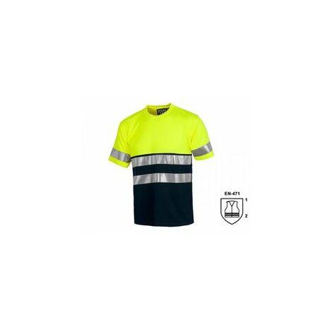 Camiseta manga corta alta visibilidad amarilla y azul Talla M