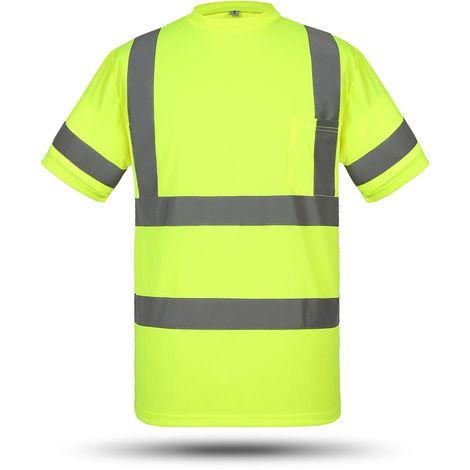 Camiseta reflectante chaleco, amarillo fluorescente, L
