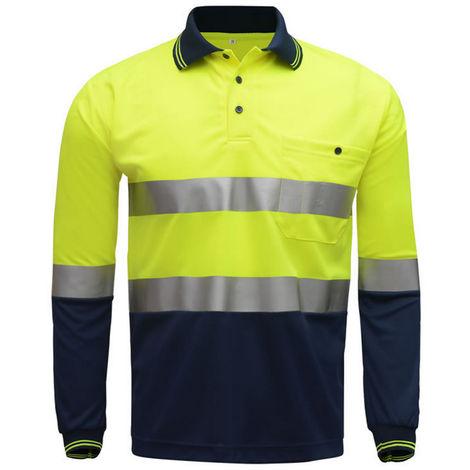 Camiseta reflectante manga larga, amarillo neon azul marino, S
