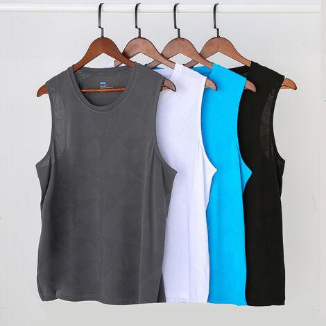 Camiseta sin mangas atletica para hombre, camisetas elasticas de secado rapido sin mangas, entrenamiento para correr, chaleco para gimnasio