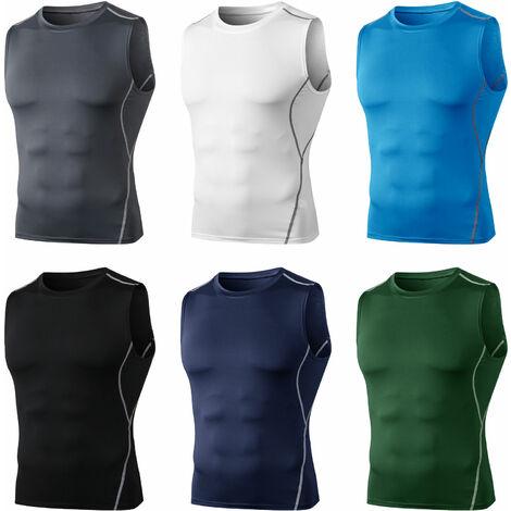 "main image of ""Camiseta sin mangas de compresion para hombre, chaleco sin mangas con cuello en O, Fitness Athletic Training Muscle sudadera"""