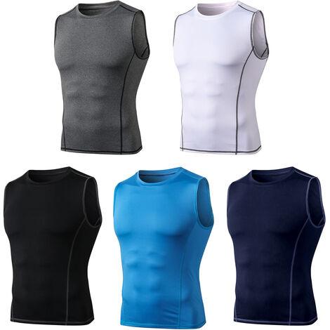 "main image of ""Camiseta sin mangas de compresion para hombre, chaleco sin mangas con cuello en O,Fitness Athletic Training Muscle sudadera"""