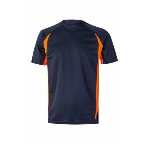 Camiseta Tecnica Bicolor Manga Corta Marino / Naranja XXL Velilla