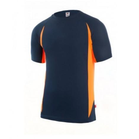 Camiseta Trabajo Manga Corta Tecnica Xxl Poliester Gris/Naranja Velilla
