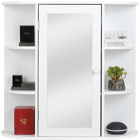 Campagne Placard Murale Meuble Armoire Suspendue Blanc avec Miroir et 3 Étages Espace de Stockage pour Salle de Bain