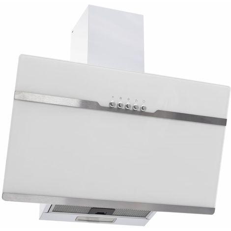 Campana extractora acero inoxidable vidrio templado blanco 60cm