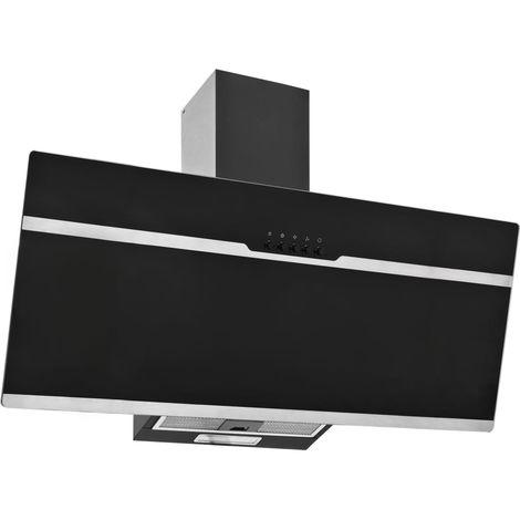 Campana extractora acero inoxidable vidrio templado negro 90 cm