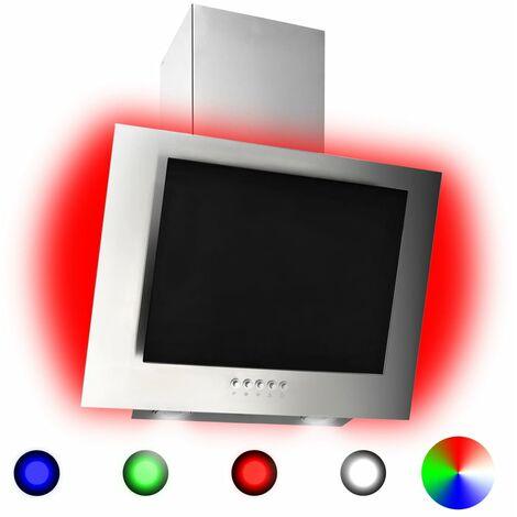 Campana extractora RGB de LED acero inox. vidrio templado 60cm