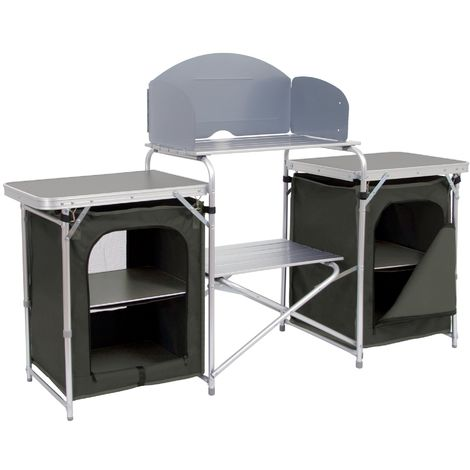 CAMPFEUER aluminium camping cupboard, camping kitchen with plenty of storage space