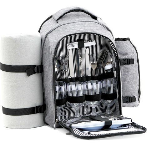 CampFeuer picnic backpack 32 pieces | Picnic set for 4 people Gray