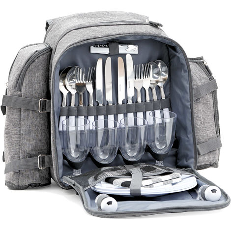 CampFeuer picnic backpack for 4 people 32-piece picnic set | Gray