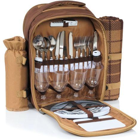 CampFeuer Sac à dos de pique-nique | 4 personnes | brun | avec sac à bouteilles + couverture