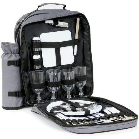 CampFeuer Sac à dos de pique-nique | 4 personnes | gris | avec sac isobottle