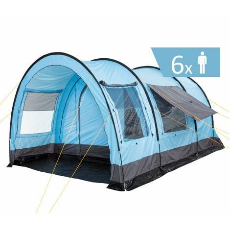 """CampFeuer Tente tunnel pour 6 personnes """"Relax6""""   gris - bleu clair"""