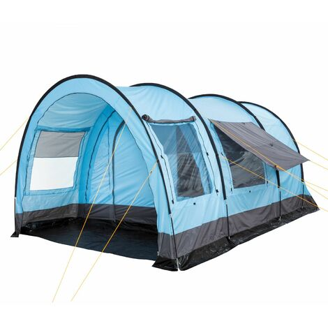 CampFeuer - XXL tunnel tent, 6 people, light blue - grey, 5000 mm HH