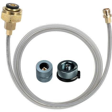 Camping al aire libre estufa de gas propano GLP adaptador de recarga plana cilindro del enganche de gas Conversion Head Set, 2 #