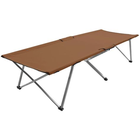 Camping Bed 206x75x45 cm XXL Brown