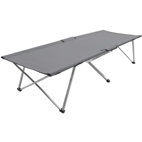 Camping Bed 206x75x45 cm XXL Grey