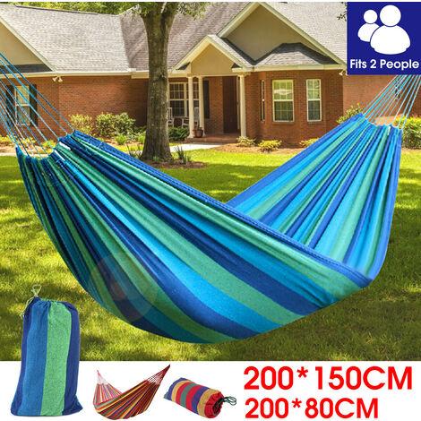 Camping en plein air portable lit suspendu de loisirs en toile hamac à cordon coulissant (bleu, sans moustiquaire)