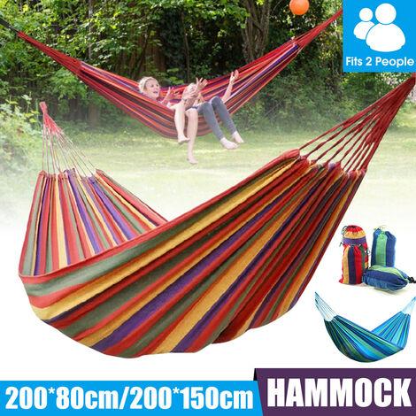 Camping en plein air portable lit suspendu de loisirs en toile hamac à cordon coulissant (rouge, sans moustiquaire)