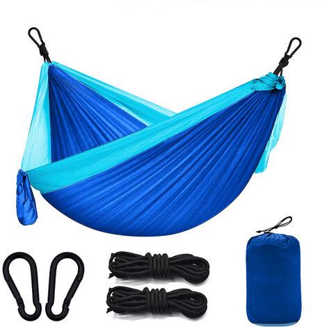 Camping exterior hammock, 260 x 140cm Ultra light camping hammock, garden hammock wearing 300kg, travel hammock with 2 x carabiners, 2 x nylon straps for garden travel - blue